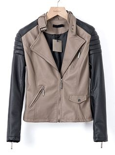 Brown Contrast Long Sleeve Zipper Pockets Leather Jacket