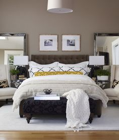 Dark Grey Wall Color Themes and Dark Beds Furniture Sets in Modern Bedroom Interior Decorating Ideas Modern Decorating Tips in Small Bedroom Design Ideas