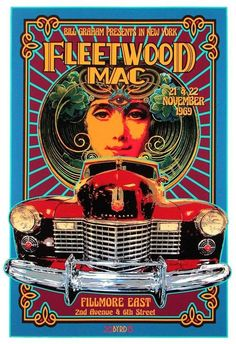 FLEETWOOD MAC at the Fillmore East NYC 1968 Fleetwood Mac's debut at the Fillmore East on 21 & 22 November They appeared with Joe Cocker in two shows a night.Print on Archival Paper with Pigmented inks Kunst Poster, Poster Art, Poster Prints, Gig Poster, Rock Posters, Music Posters, Photowall Ideas, Fillmore East, Vintage Concert Posters
