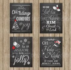 These 4 Christmas chalkboard prints would look great next to your mantle or tree!