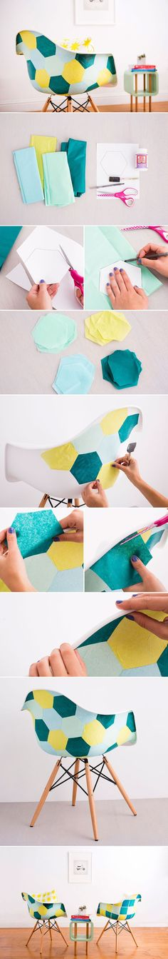 Use tissue paper and Mod Podge to upgrade a basic chair.
