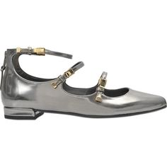 Stuart Weitzman Flippy 3 strap pointed flat (1,415 SAR) ❤ liked on Polyvore featuring shoes, flats, grey, gray flats, pointed flat shoes, grey shoes, gray flat shoes and pointed-toe ankle-strap flats