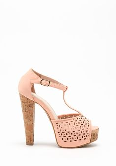 Peach Perforated T-Strap Heels - LoveCulture.com