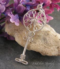 Jewelry TutorialArt Deco Key Pendant by wickwirejewelry on Etsy, $9.50