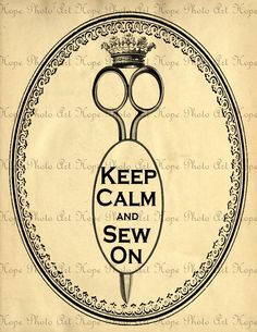 Keep Calm and Sew On Vintage Collage - 8.5x11 Image Transfer Collage - Burlap Feed Sacks Pillows Tea Towels greeting cards - U Print JPG 300. $3.49, via Etsy.