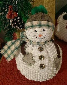 """""""Snow Day"""" Snowman from The Cranberry Smuggler on eBay!  Handmade Vintage White Chenille Hobnail Bedspread Snowman Christmas Decoration"""