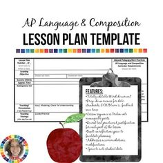 AP Language and Composition Lesson Plan Template  Drop-down menus, built-in calendar, and more! Easy to use, impressive for evaluations.   From The Rhetor's Toolbox https://www.teacherspayteachers.com/Store/The-Rhetors-Toolbox