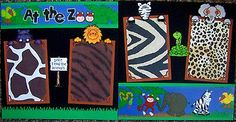 AT THE ZOO     TWO 12X12 Premade Scrapbook Pages