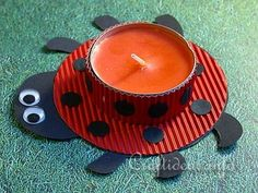 Ladybug Cut Out Pattern | Spring Craft for Kids - Lady Bug Tea Light Holder