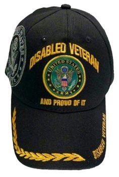 b3d97f784eb U.S. Army Hat Black Logo Disabled Veteran Baseball Cap with Wreath Military  Headwear