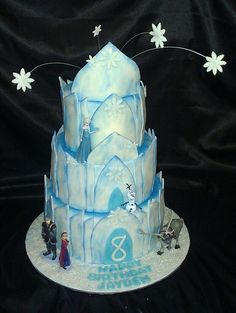 Frozen Cake With Fondant Ice Castle Character Amp Themed