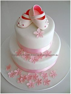 Baby Girl Shoes Christening Cake, Christening Cakes Sydney, Christening Cake Designs, Communion Cakes, Baby Christening Cake - by EliteCakeDesigns Sydney Fancy Cakes, Cute Cakes, Pretty Cakes, Beautiful Cakes, Christening Cake Designs, Baby Christening Cakes, Baptism Cakes, Shower Bebe, Cake Toppers