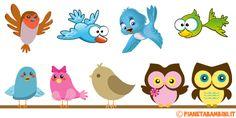 Simpatici uccelli già colorati realizzati per bambini, pronti da stampare e ritagliare