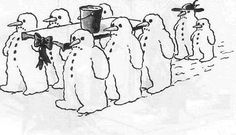 comic Christmas cartoons snow men at a funeral