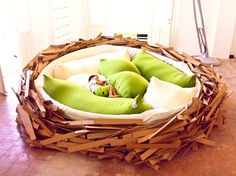 Birdnest bed for childrens play area. Very cool.