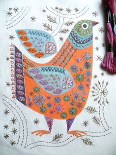 BIRD Stitch kit by Nancy Nicholson