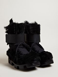 Rick Owens Men's Furry Pony Skin Plinth Boots
