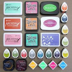 Great guide to stamping inks!! Mini Gelli®️️ Stamping with Ink Pads! Examples of dye ink pads: Ranger Distress Ink and Archival Ink. Tsukineko StazOn and Memento Dye Ink. Hero Arts Shadow Ink and Neon.