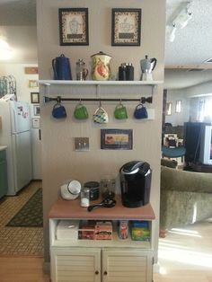 Coffee station. Would do baskets in the open part.