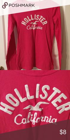 Long sleeved Hollister tee shirt Size small long sleeved Hollister tee shirt. The fuzzy part of the wording is starting to peel. Hollister Tops Tees - Long Sleeve