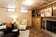 1995 Fairview Ave N, Roseville, MN 55113 | Built in 1957 | Zillow | Basement built-ins and fireplace