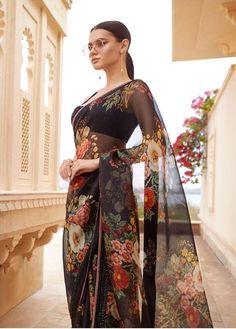 Sabyasachi black floral saree. #Frugal2Fab