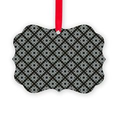 Pretty Grey CrissCross Pattern Ornament on CafePress.com