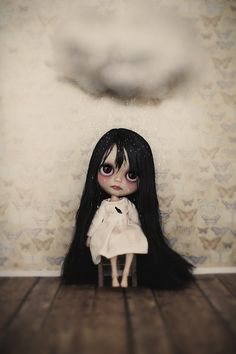 "Blythe ◉◡◉ ~ Is it just me, or does this baby bear a spooky resemblance to the little girl in the movie ""The Ring"" ~ She looks like Samara Morgan :o/"