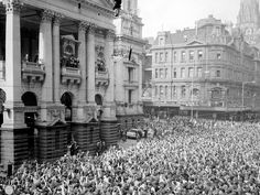 Thousands of fans packed the streets to see the Beatles at the Melbourne Town Hall, 1964. Picture: Herald Sun Image Library