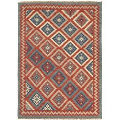 JaipurLiving Anatolia Hand-Woven Red/Blue Area Rug