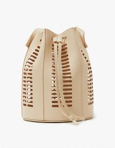 Modern Weaving / Mini Oval Die Cut Bucket Bag in Neutral Designer Purses And Handbags, Designer Wallets, My Bags, Purses And Bags, Leather Workshop, Boho Bags, Leather Bags Handmade, Cheap Handbags, Vintage Purses