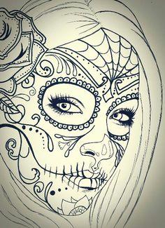 black and white sugar skull girl tattoo Sugar Skull Mädchen, Sugar Skull Girl Tattoo, Girl Skull, Sugar Tattoo, Cute Tattoos, Girl Tattoos, Sexy Tattoos, Tattoo Crane, Skull Coloring Pages