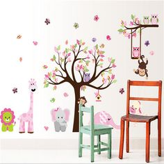 Cute Zoo Animal Wall Sticker with Monkey Playing on Tree Branch with Zebra,lion,elephant Giraffe and Owl Nursery Wall stickers Wall Stickers Elephant, Elephant Nursery Wall Decor, Elephant Wall Art, Nursery Wall Stickers, Wall Stickers Home Decor, Nursery Room Decor, Giraffe, Monkey Nursery, Nursery Ideas