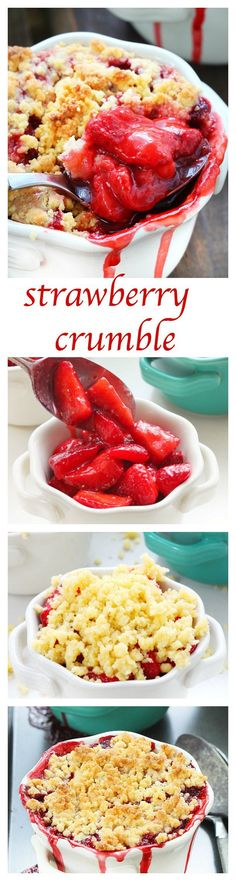 Juicy fresh strawberries and a buttery topping make this strawberry crumble one of my favorite summer desserts!! Simple ingredients and only 5 minutes of prep time, I'll be making this over and over again, all summer long!