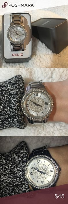 Relic Crystal Silver Watch Cute Silver Womens Relic watch with crystals Worn a few times and comes with tags! Relic Accessories Watches