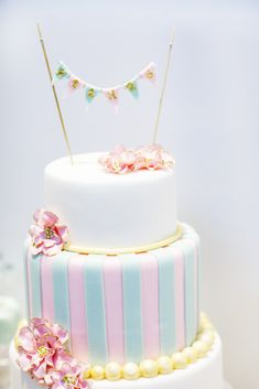 Pink and blue striped wedding cake with pearl details and bunting! Wedding Cake Decorations, Wedding Cake Designs, Wilton Cakes, Cupcake Cakes, Pastel Wedding Cakes, Cake Decorating Piping, Naked Cakes, Cute Baby Shower Ideas, Balloon Cake