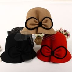Dimensional bow woolen Topper Bowler Hat, Bows, Accessories, Fashion, Arch, Arches, Moda, Fashion Styles, Bowties
