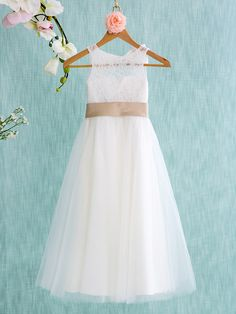 09e1661594e A-Line Tea Length Flower Girl Dress - Lace   Tulle Sleeveless Jewel Neck  with Bow(s)   Sash   Ribbon   Pleats by LAN TING BRIDE® 2019 - US  69.99