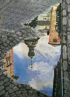 Spring puddle Reflection picture Original acrylic Painting