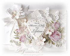 Shabby Chic Wedding Card by Inger Harding Wedding Day Cards, Wedding Cards Handmade, Wedding Anniversary Cards, Beautiful Handmade Cards, Shabby Chic Karten, Shabby Chic Cards, Engagement Cards, Engagement Ideas, Marianne Design