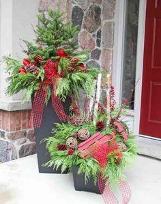 composition florale de Noël pour extérieur et pot de fleur