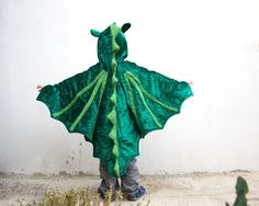 Dragon Costume, Kid Costume, Party Fairy Tale Dragon Green Costume or Halloween Costume with Wings for Boys or Girls. $50.00, via Etsy.