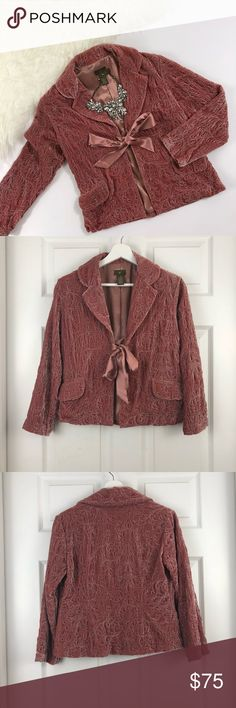 fa9d7238 Anthropologie Fei Pink Velvet Blazer Anthropologie Fei Pink Velvet Blazer.  This vintage Anthro Blazer is