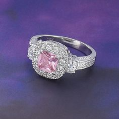 Pink Diamond CZ Ring - New Age, Spiritual Gifts, Yoga, Wicca, Gothic, Reiki, Celtic, Crystal, Tarot at Pyramid Collection