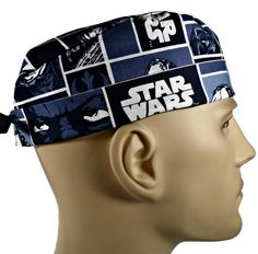 3fec3a14a40 Men s Adjustable Fold-Up Cuffed or Un-Cuffed Surgical Scrub Hat Cap  Handmade with Star Wars Squares fabric