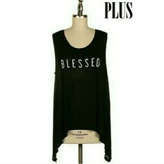 COMING SOON Plus size asymmetrical tank top Fashionomics BLESSED asymmetrical hem tank 100% rayon Plus size Fabric allows you to dress up or dress down; your choice Fashionomics  Tops Tank Tops