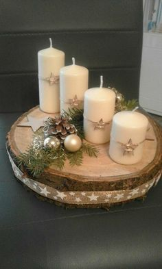 minutes simple christmas candles decoration 2 ~ my. Christmas Advent Wreath, Christmas Candle Decorations, Advent Candles, Christmas Candles, Rustic Christmas, Winter Christmas, Christmas Holidays, Advent Wreaths, Table Decorations