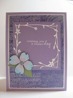 Laura Fulcher posted this on her blog Color Whimsy using some of the new dies and stamps from Memory box.   I love the color combo and design