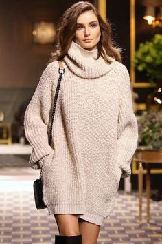 Fashion High Neck Long Sleeve Top Sweater Pullover Knitwear Dress