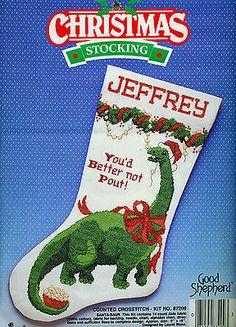 Christmas Holiday Counted Cross Stitch Stocking Kit, SANTA-SAUR ...